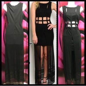 Beautiful caged black maxi dress